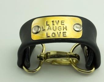 LIVE LAUGH LOVE Black Leather Hand-Stamped Brass Bracelet