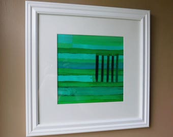Original Abstract Art-Contemporary Art Framed Abstract Art-Forest-Free Shipping-Nature-Woods-Greens-Home Decor-Office Decor,Collage
