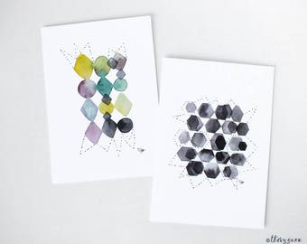 Geometric watercolor card, Abstract greeting, Geometric greetings card, Geometric stationery, Congratulations, Black and white, Abstract art