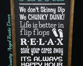 "Welcome to the HOT TUB ,Rustic wood sign 12""x24"", Hot tub rules sign, Outdoor Sign, Deck Sign, Backyard Sign"