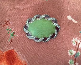 Vintage Brooch, 1940s Jewelry, Green Pin, Scrolled Enamel Masonite Sparkle Brooch Vintage Costume Jewelry Vintage Pin Grandma Pin 40s Brooch