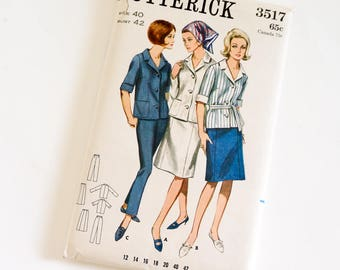Vintage 1960s Womens Size 40 Jacket Skirt Pants Butterick Sewing Pattern 3517 FACTORY Folds,  b42 w34