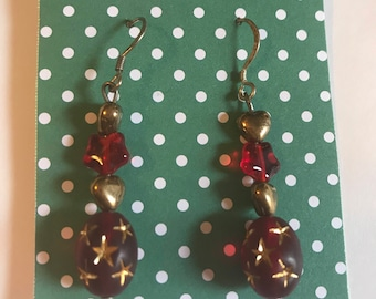 Burgundy and Red Heart and Stars Dangle Earrings