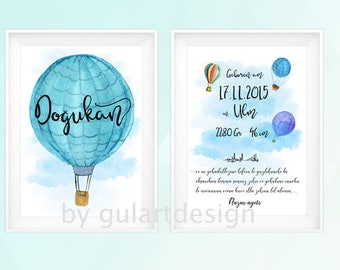 Birth table, personalized picture children's Room 2 pieces. Hot air balloon, Islamic nurseryroom, islamickidsroom, protection dua