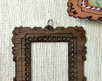 SMALL Mini Masterpiece Frame DIY Pendant *Laurel/ Walnut wood*