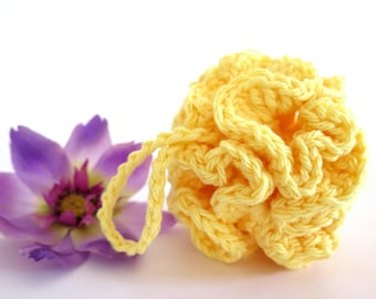 Crochet Facial Pouf Yellow Cotton Scrubbie Baby Bath Loofah Lightly Scented