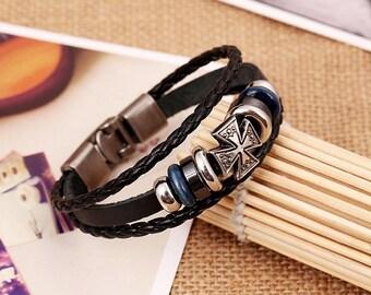 Black Leather Bracelet with Cross Charm