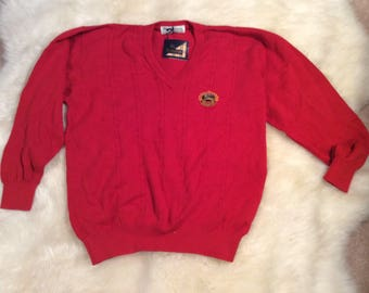 Vintage 80's Burberrys red men's sweater