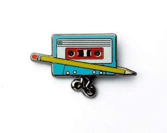 cassette tape enamel pin | Retro Music pin |  lapel pin | hard enamel | hat pin