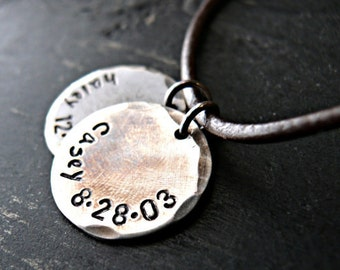 Mens Personalized Necklace - Mens Sterling Silver Necklace - Mens Hand Stamped Necklace