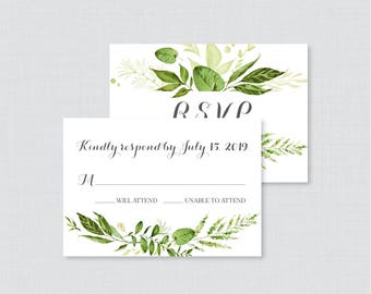 Printable OR Printed Wedding RSVP Cards - Green RSVP Wedding Cards - Rustic Greenery Wedding Response Cards, Leaf/Leaves Reply Cards 0007
