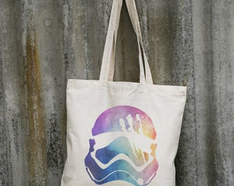 Stormtrooper Star Wars Funny Helmet | Watercolor Colored Art | Eco Cotton Canvas Day Market Shopping Handbag