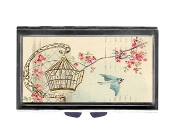 Flying Free Bird Pill Case with Mirror pill box 3 day sections  shabby cottage chic vintage art birdcage Wife Gift