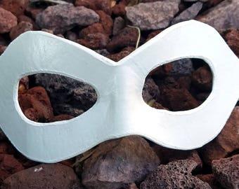 White Pointed Domino Mask - Pointed Edge Molded Leather Mask - Superhero Costume Mask