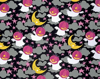 Happy Halloween Fabric by David Walker Moonlight Pumpkin Ghosts Night Sky on Vampire Purple