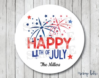 Personalized Happy 4th of July Stickers, July 4th Fireworks Tags, 4th of July Labels