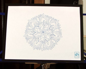 Spring Stars Mandala - Original Ink Drawing On Paper 10x13 Mounted