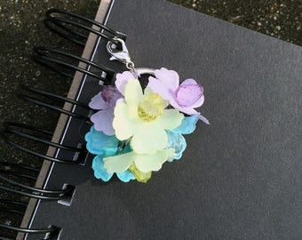 Pastel Flower Planner Charm Silk Flowers Beaded Zipper Pull Spring Garden Journal Charm