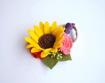 Summer Sunflower Felt Floral Headband / Alligator Clip / Nylon Headband / Purple, Pink, Red, Blue // Flower Crown // Summer