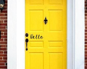 Hello Front Door Decal   Front Door Decals   Door Stickers   Door Decal   Hello Stickers   Entryway Decor   Wall Decor