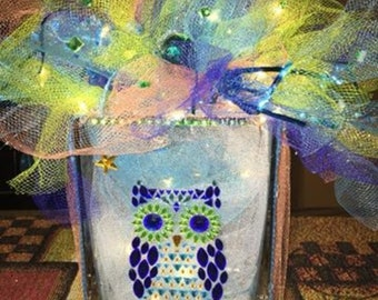 """Lighted glass owl  great for a nightlight in any room  approximately  7"""" high x 4"""" wide"""