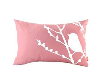 Rose Pink Bird on Cherry Blossom Rectangle Pillow