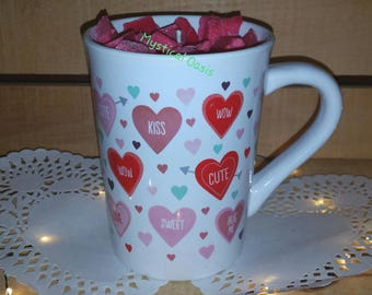 10.8 ounce hand poured Soy candle highly scented Red Hot Cinnamon Vanilla Supreme in Ceramic Mug Valentines Day themed