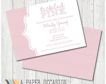 Tickled Pink Baby Shower Invitation,  Printable Baby Shower Invitation, Digital Baby Shower Invitation, Pink Shower Invite
