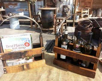 Wine or whiskey barrel magazine/bottle holder