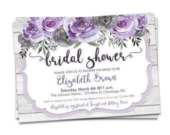 Purple Floral Bridal Shower Invitation, Purple Gray Bridal, Rustic Bridal Shower Invitation, Printable Floral Bridal Shower Invitation