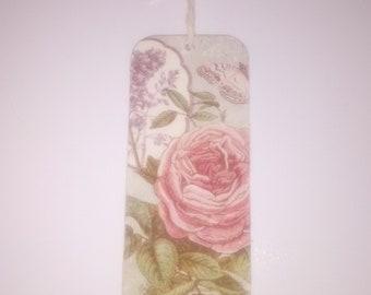Wooden decoupaged bookmark