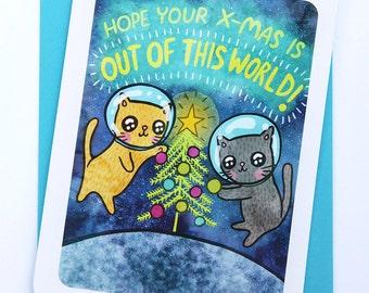 Xmas Card Space Cats - Holiday Notecard, Christmas Card, Funny Christmas Card, Cat Xmas Card, Season's Greetings Card, Cute Christmas Card