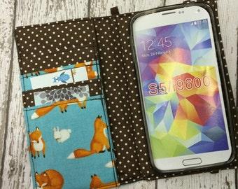 Samsung Galaxy wallet, Galaxy case - fox print with removable gel case