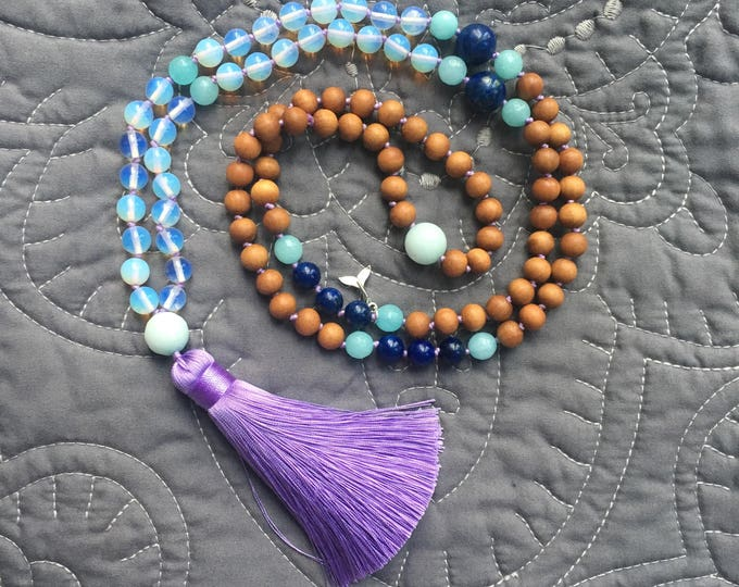 Featured listing image: Ocean Opalite Mala Necklace, Mala Necklace 108, Mala Tassel Necklace, Boho Necklace, Mala Necklace, Handknotted Necklace, 108 Beads,
