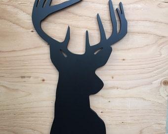 Wood Deer Head Silhouette, Wall Decor, Wall Art, Modern Home Decor woodland nursery decor, wall art print, wooden art, carved deer