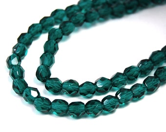 100/pc Viridian Green Czech 4mm Fire-polished Faceted Round Beads