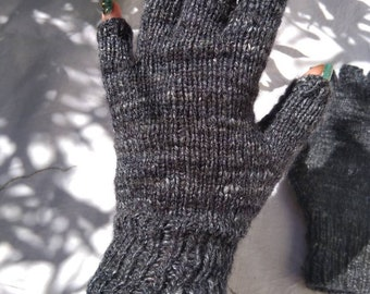 Ladies' Hand Knitted Fingerless Gloves - Grey