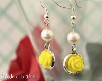 Yellow Rose and Pearl Drop Earrings