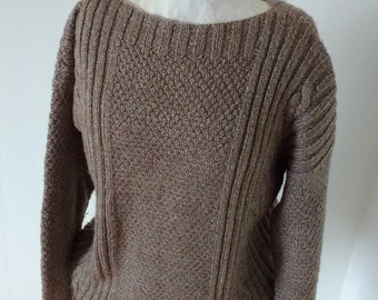 Hand knitted jumper, oatmeal oversized knitted sweater, warm winter fashion for him or her, size M/L