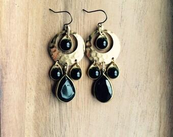 Gold and Black Earrings // Boho Earrings, Chandelier Earrings, Hammered Jewelry, Gold Earrings, Modern Bohemian Earrings