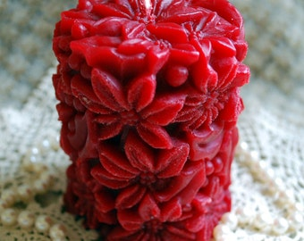 Beeswax Candle Poinsettia Covered Pillar in RED