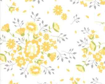 "1 yard and 5"" piece/remnant - Pepper and Flax - Summer Blooms in Eyelet White: sku 29040-11 cotton quilting fabric by Corey Yoder for Moda"