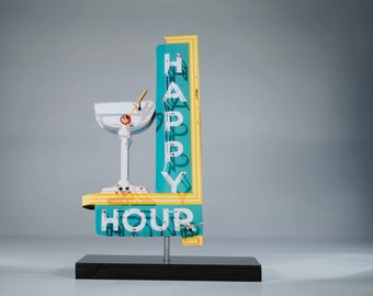 Happy Hour Neon sign cutout / vintage neon sign / cocktail sign / bar art / mid century modern sign / martini sign / neon sign photo / retro