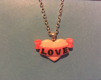 Pink Heart Love Necklace    AJ60