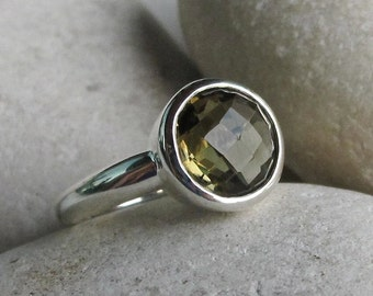 Olive Green Quartz Ring- Round Green Gemstone Ring- Faceted Simple Everyday Ring- Green Topaz Sterling Silver Ring- Stackable Stone Ring