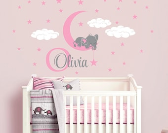 Elephant on Moon Custom Name Personalized Initial Wall Decal Sticker for Nursery, Girl's Room or Playroom, Nursery Monogram