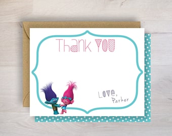 Poppy and Branch Thank You Card, Poppy and Branch, Thank You Card, Polka Dot, Blue and Pink, Pink, Blue, Boy, Girl,