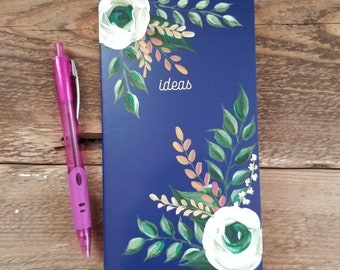Floral hand painted notebook - blank lined journal