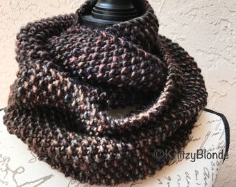 Outlander Infinity Scarf Cowl Seed Stitch Luxe Merino Wool Chunky Yarn