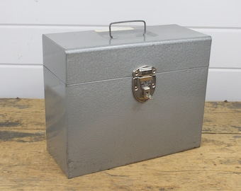 Industrial Excelsior Silver Metal File Box Storage Container, Working Key & Lock, Portable with Handle, Industrial Storage, Silver Decor